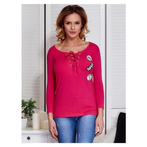 Dark pink lace-up blouse with patches Fashionhunters