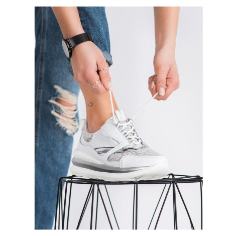 ARTIKER WHITE AND GREY LEATHER SNEAKERS