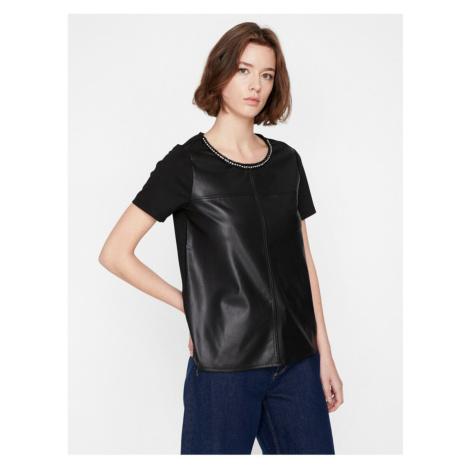 Koton Women's Black Leather Look T-shirt