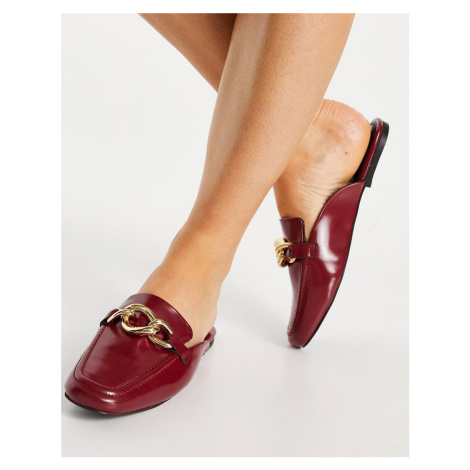 ASOS DESIGN Mischa leather chain loafer in red