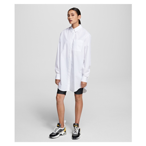 Košile Karl Lagerfeld Embellished Cotton Shirt - Bílá