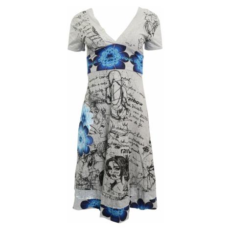 Šedé popsané šaty s modrými květy Desigual