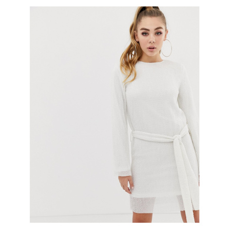 Club L allover sequin shift dress with belt detail in white Club L London