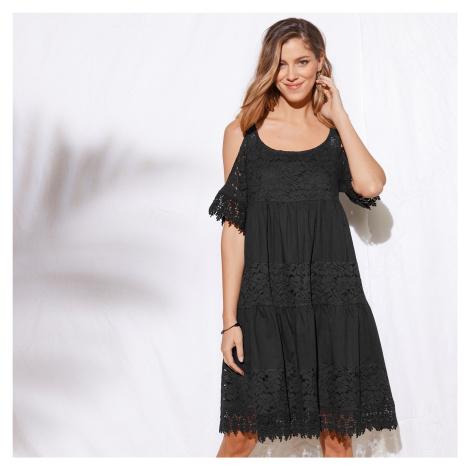 Blancheporte Šaty s krajkou a volány černá