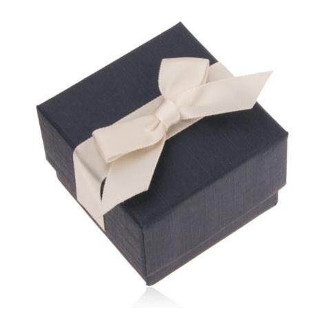 Modrá dárková krabička na prsten, přívěsek a náušnice, krémová mašle Šperky eshop
