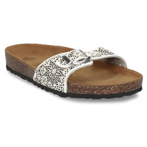 Bílé dámské kožené pantofle s perforací Baťa