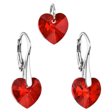 Sada šperků s krystaly Swarovski náušnice a přívěsek červená srdce 39003.4 Victum
