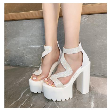 Sexy boty letní večerní třpytivé sandály na vysoké platformě