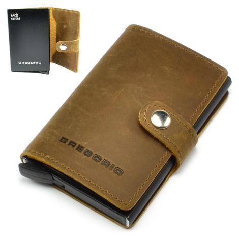 Hnědé kožené luxusní pouzdro na karty GREGORIO