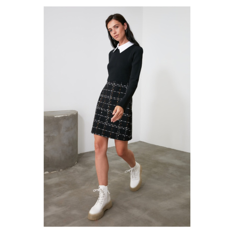 Trendyol Black Tweed Shirt Collar Dress