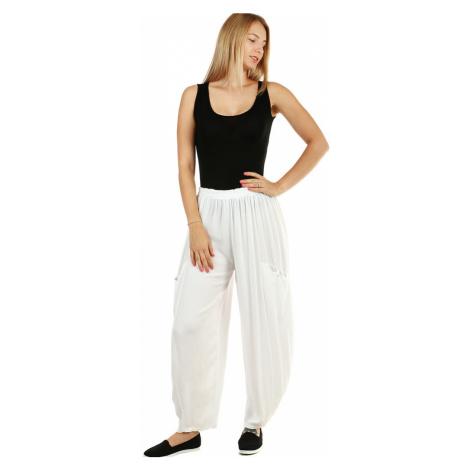 Letní dámské široké kalhoty s kapsami