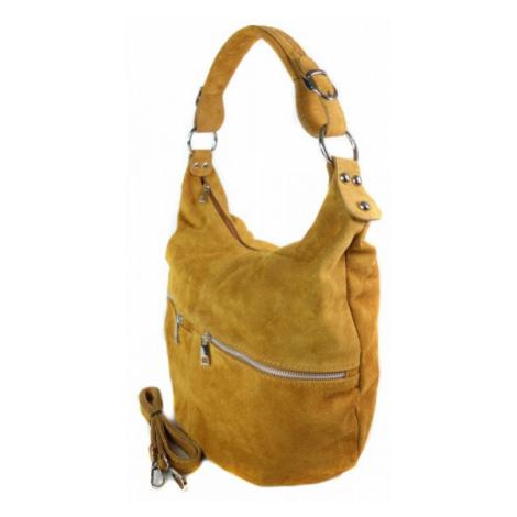 Kožená kabelka přes rameno Vera Pelle W345R camel