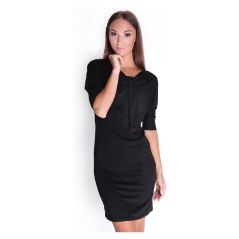 Černé elegantní šaty s tříčtvrtečním rukávem