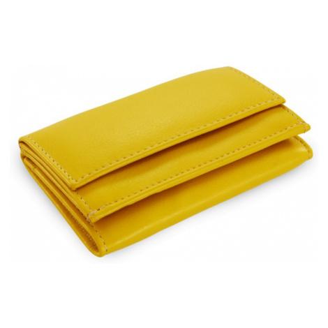 Žlutá kožená mini peněženka Athena Arwel