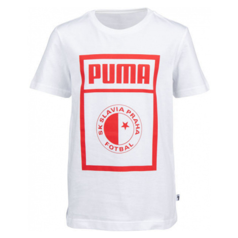 Puma SLAVIA PRAGUE GRAPHIC TEE JR bílá - Juniorské triko