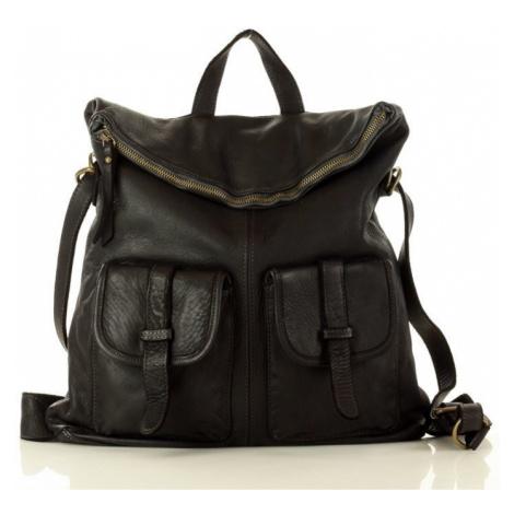 Kožená kabelka 2v1 batoh s kapsami safari old look taška MARCO MAZZINI