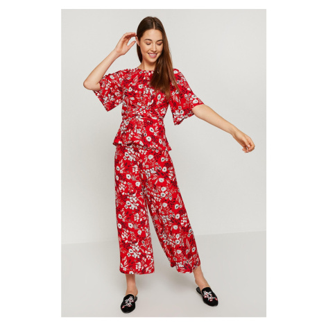 Koton Women Red Patterned Trousers