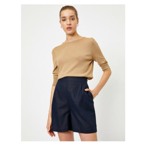 Koton Women's Navy Blue Pocket Linen Shorts