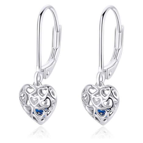 Linda's Jewelry Stříbrné náušnice Visací Double Love Srdce IN089