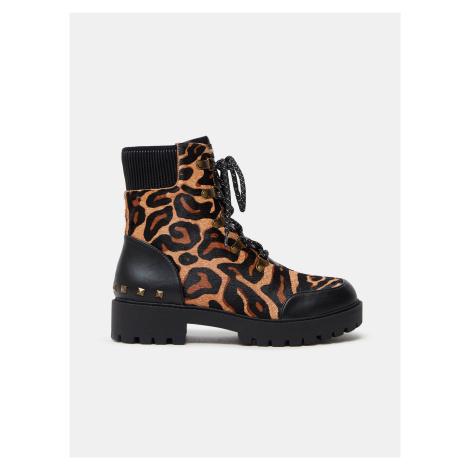 Hnědé dámské kožené kotníkové boty s leopardím vzorem Desigual Biker Leopard