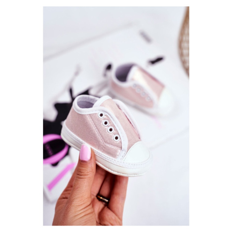 Children's Sneakers With Brocade Baptism Pink Milley Kesi