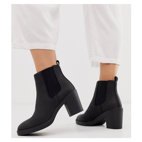New Look Wide Fit chunky heeled chelsea boots in black