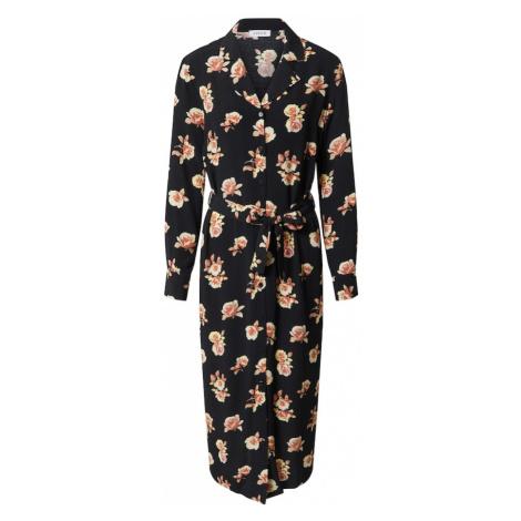 EDITED Košilové šaty 'Christin' černá / jasně oranžová