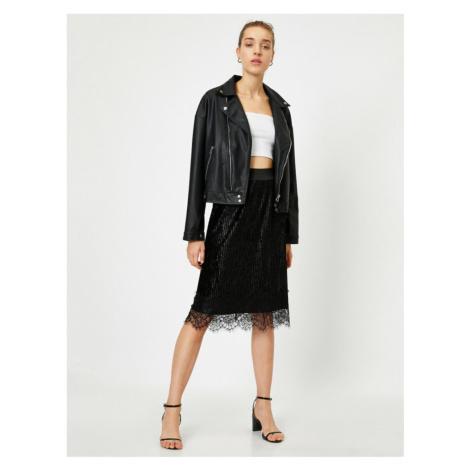 Koton Women's Black Pleated Lace Velvet Skirt