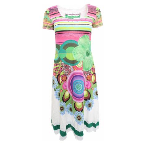 Desigual bílé šaty s barevnými vzory a pruhy