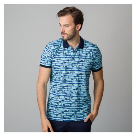 Pánské polo tričko světle modré s potiskem černých palem 11838 Willsoor