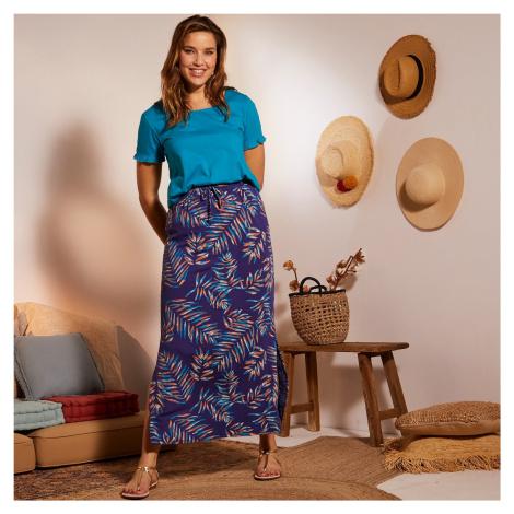 Blancheporte Dlouhá sukně s potiskem palmových listů modrá/tyrkysová