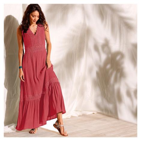Blancheporte Dlouhé šaty bez rukávů paprika
