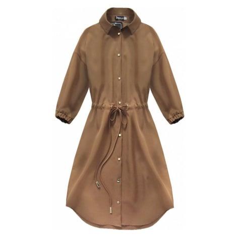 Karamelové dámské šaty s kapsami (133ART) hnědá INPRESS