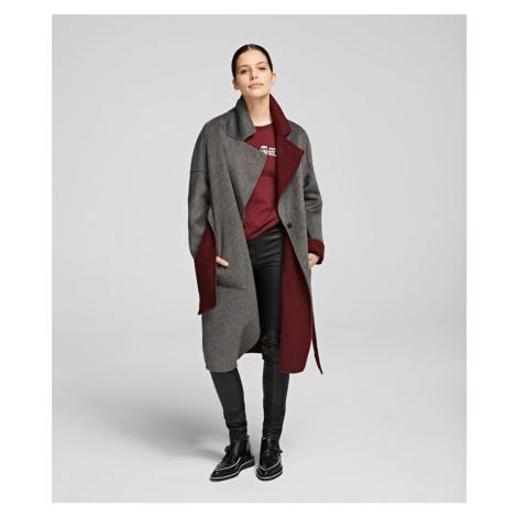 Kabát Karl Lagerfeld Double Face Wrap Coat - Červená