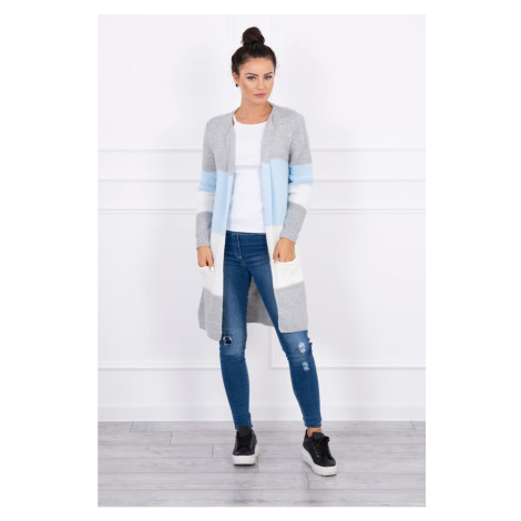 Sweater Cardigan in the straps gray+azure