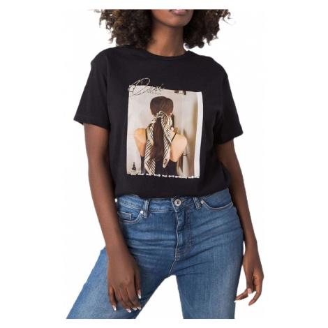 černé tričko s potiskem a flitry BASIC