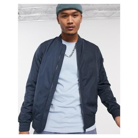 Bershka bomber jacket in navy-Blue