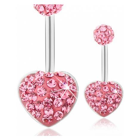 Ocelový piercing do bříška, kulička a srdce, tmavě růžové třpytivé zirkony Šperky eshop