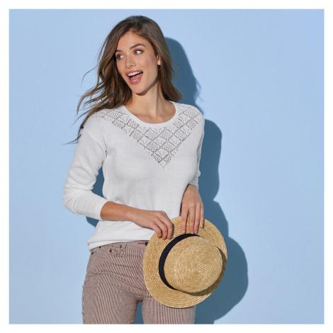 Blancheporte Ažurový pulovr s kulatým výstřihem bílá