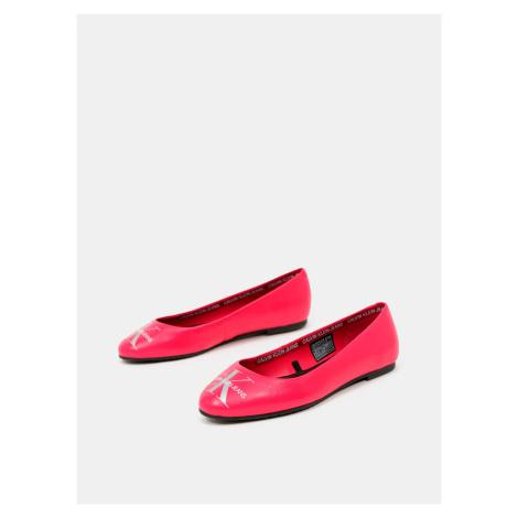 Calvin Klein růžové kožené baleríny Ballerinas Printed