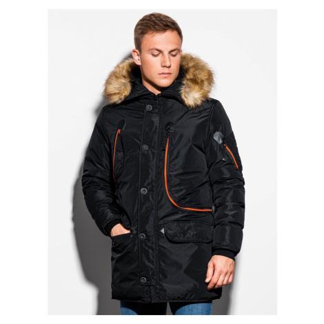 Ombre Clothing Černá zimní bunda s kapucí  c369