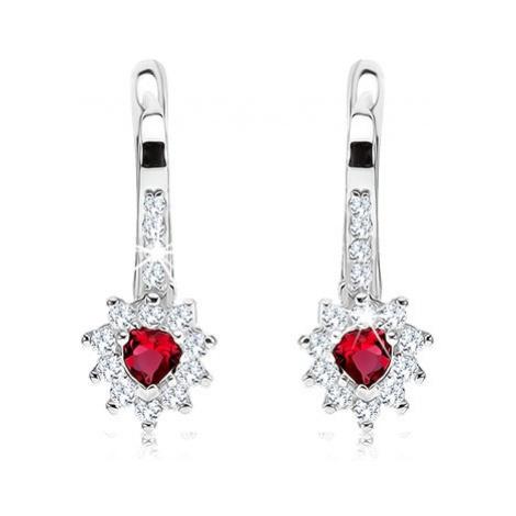 Náušnice ze stříbra 925, červený srdíčkovitý zirkon s čirým lemem Šperky eshop