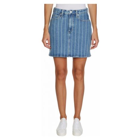 Calvin Klein Calvin Klein dámská světle modrá denim sukně s pruhy HIGH RISE MINI SKIRT
