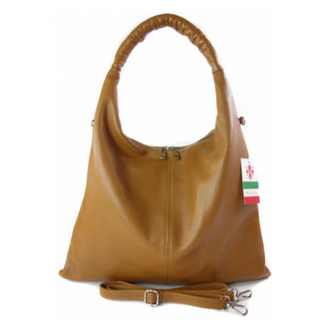 Kožená kabelka přes rameno Vera Pelle WX435B camel