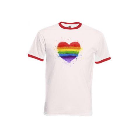 Pánské tričko s kontrastními lemy Rainbow heart