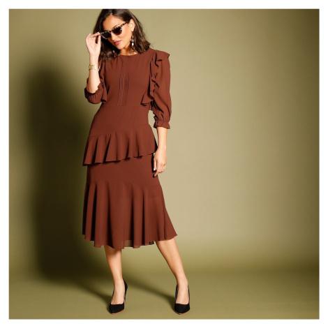 Blancheporte Volánové asymetrické šaty se 3/4 rukávy bordó