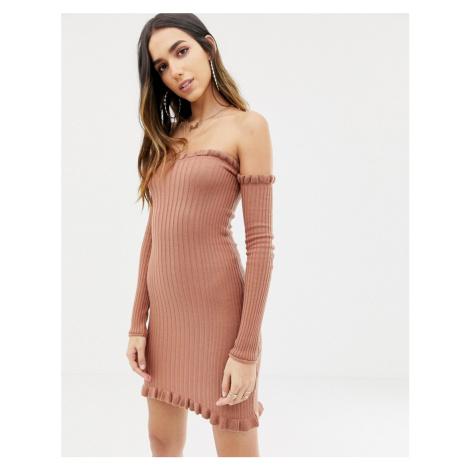 ASOS DESIGN bardot frill ribbed knit mini dress