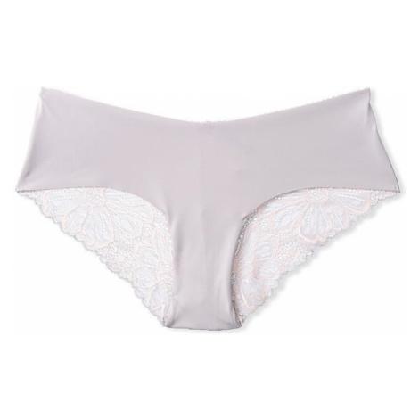 Brazilské bezešvé kalhotky Victorias Secret Lace Back šedé