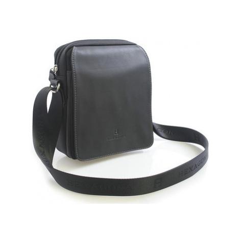 Hexagona Černá pánská kožená taška přes rameno 299162 Černá