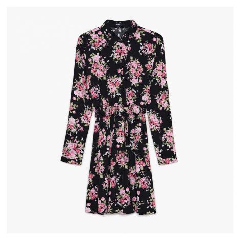 Cropp - Květinové šaty - Černý
